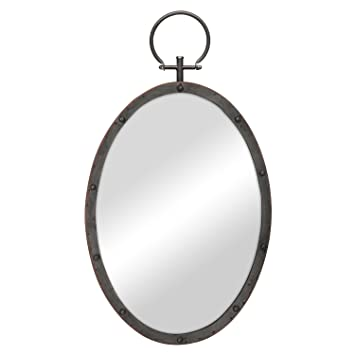 Stonebriar Oval Rustic Bronze Metal Mirror With Rivet Detail Hanging Ring For Wall Industrial