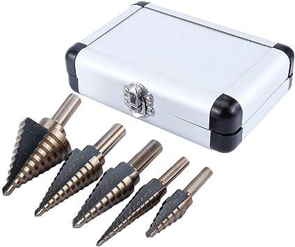 Herramienta HSS para taladrar orificios: gran cobalto HSS Step Cono de titanio Taladro para taladrar Brocas Juego de herramientas + estuche, paquete de 5: Amazon.es: Bricolaje y herramientas