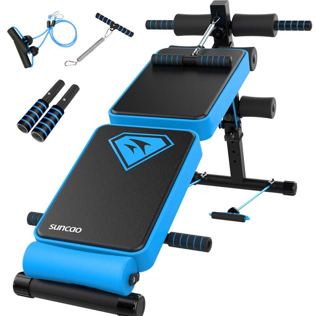 CHS@ 調節可能なウェイトベンチは、ベンチ腹部運動クランチボードを座ってブラックホームジムを使用して折りたたみフィットネス機器シットアップベンチ 多機能 (色 : 青)  青 B07PB7DR89