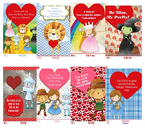 Vintage Wizard Themed Valentine Day Classroom Sharing Card Set (20 Included) Witch Dorthy