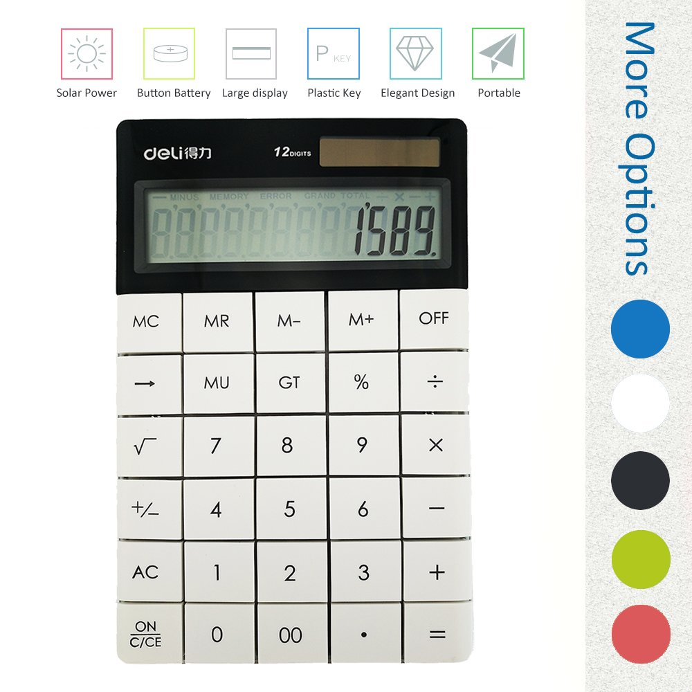 Deli 1589 standard function with ''OFF'' ''back'' button calculator, White, Big lcd screen large display, Dual power (Solar and AG13 1.5V button battery) 12 digits desktop calculator