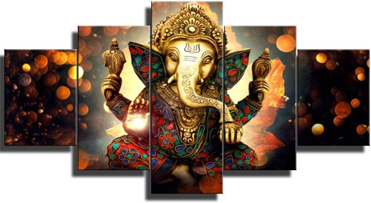 "Large 5 Pieces Lord Ganesha Indian Wall Decor - Hindu Temple Puja Mandir for Home - Elephant Zen Photo Picture Canvas Print Paintings for Living Room House Wooden Framed Decorations (60""W x 32""H)"