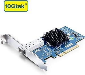 10Gb PCI-E NIC Network Card, Single SFP+ Port, PCI Express Ethernet LAN Adapter Support Windows Server/Linux/VMware, Compare to Intel X520-DA1