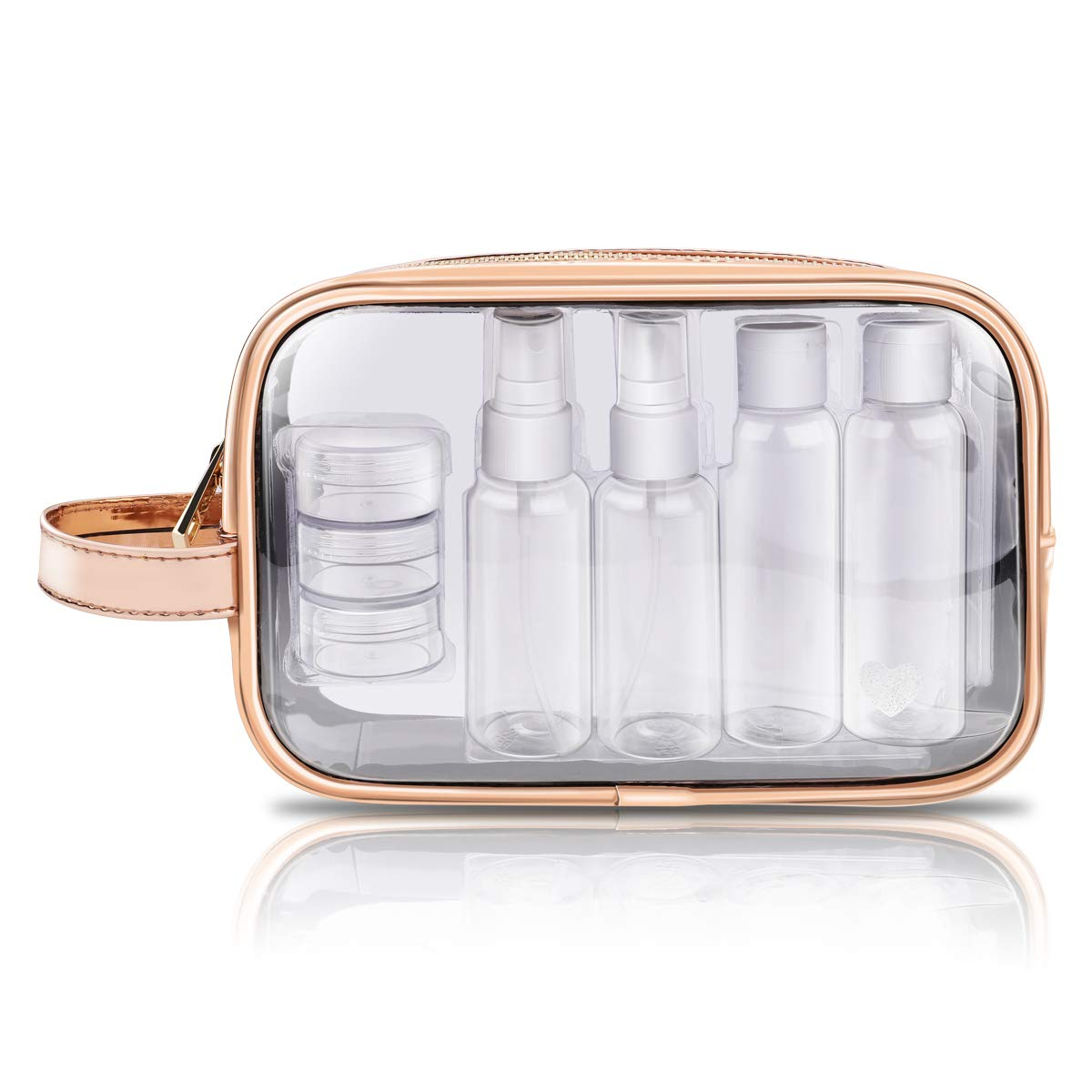 Transparent Toiletry Bag + 7 Pots, Morpilot Containers, Plane Bottles, PVC Travel Bag Waterproof Portable Makeup Bags for Women and Men