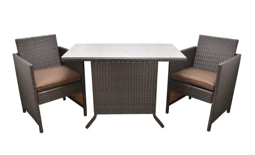 最高級ラタン調ガーデニングテーブルセット 二人掛け コンパクト設計 カフェテリア風おしゃれ家具 (ダークブラウン) B0797RGRQK  ダークブラウン