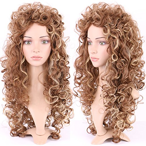 S-noilite Long Tight Curly Deep Wave Wig for Black Women Ombre Highlighted Synthetic Hair Fluffy Full Wigs Cosplay Daily Party Costume(Light Brown Blonde ()