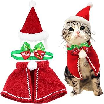 Amazon.com: Cute Dog Cat Pet Navidad Gorro de Papá Noel y ...