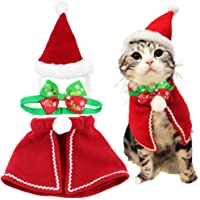 Wiz BBQT Cute Dog Cat Pet Christmas Santa Hat and Cloak Costume and Collar Bow Tie for Puppy Kitten Small Cats Dogs Pets…