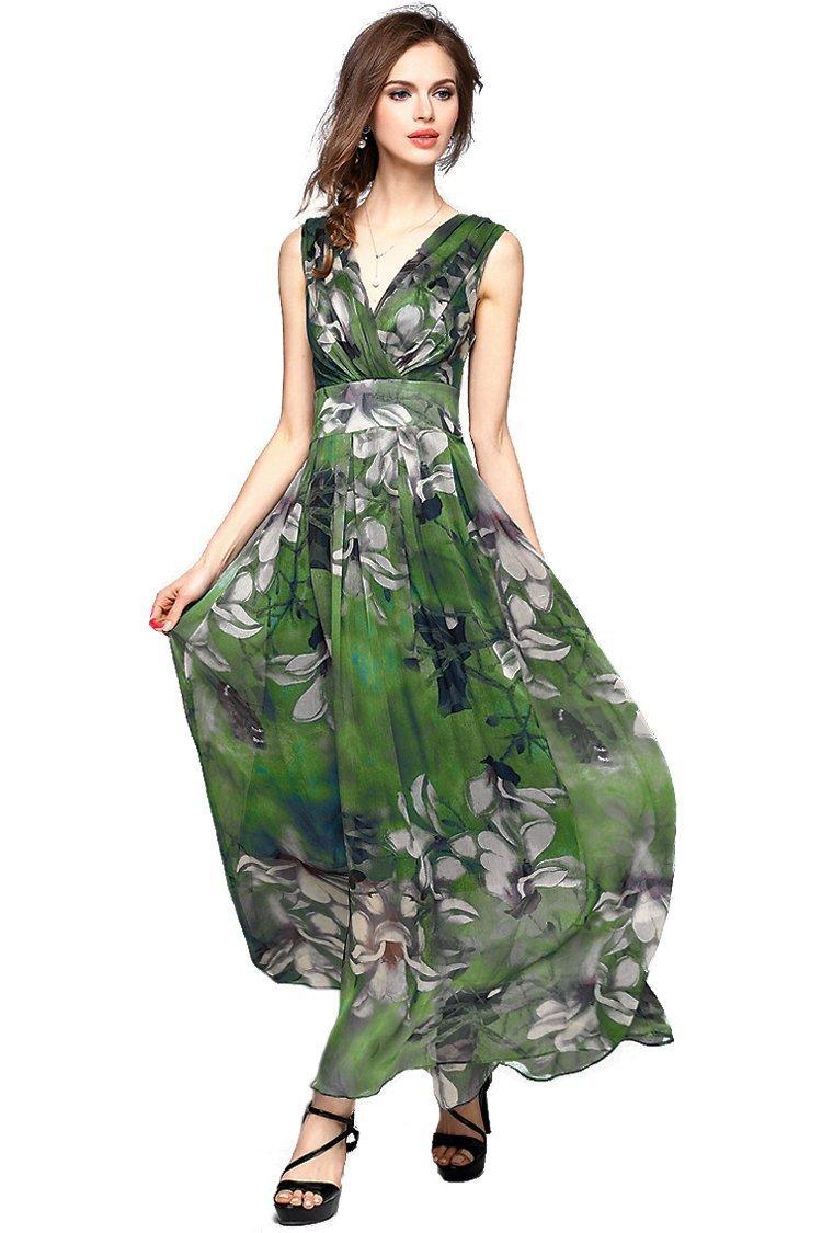 Joy EnvyLand Women V-neck Flower Prom Party Tunic Long Cocktail Beach Dress, Green, X-Small