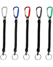 5Pcs Stretchy Spiral Keyring With Color Carabiner,Spiral Retractable Coil Spring Key chain Theftproof Anti-Lost Stretch Cord Safety Key Ring with Metal for Keys, Wallet, Cellphone (Random Color)