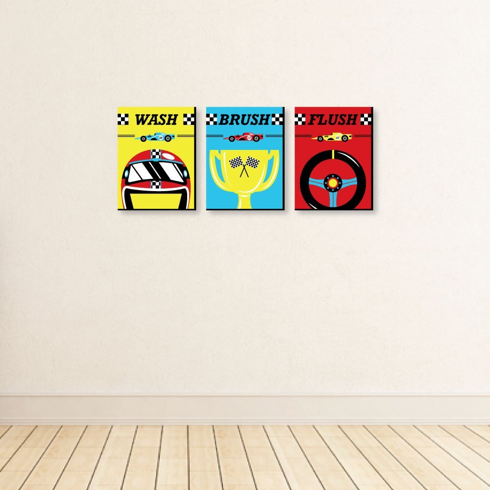 "Kids Bathroom Rules Wall Art Brush Flush Set of 3 Signs 7.5/"" x 10/"" Racecar Wash Let/'s Go Racing"