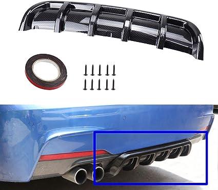 Carbon Fiber Color Rear Diffuser Universal Car Rear Bumper Diffusers Spoiler Lip Kit Aerodynamic Shark 6 Fin Curved Black Carbon Fiber ABS