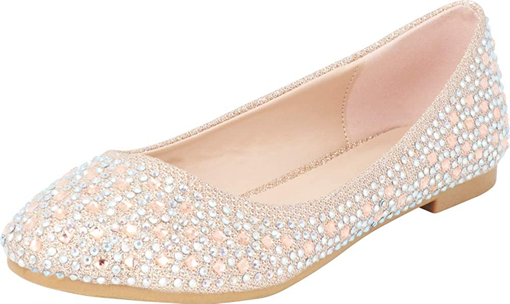 Cambridge Select Women's Round Toe Crystal Rhinestone Glitter Ballet Flat