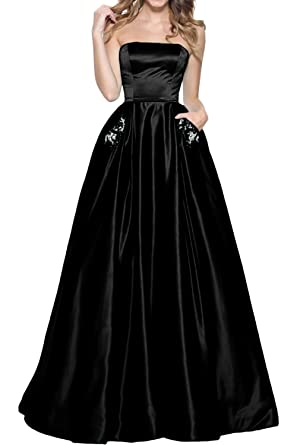 MILANO BRIDE Vogue Prom Ball Dress Strapless Ball Gown Pocket Satin Applique-2-Black