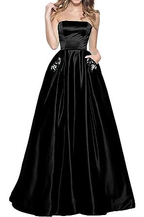 MILANO BRIDE Vogue Prom Ball Dress Strapless Ball Gown Pocket Satin Applique-2-Black