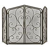 Cheap Urban Designs 7767544 Decorative Antigua Protective Fireplace Screen, Black