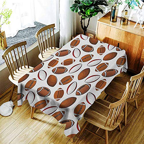 (XXANS Washable Tablecloth,American Football,Classic Design Rugby Balls in Cartoon Style Sports Competition,Fashions Rectangular,W54x72L Caramel Ruby)