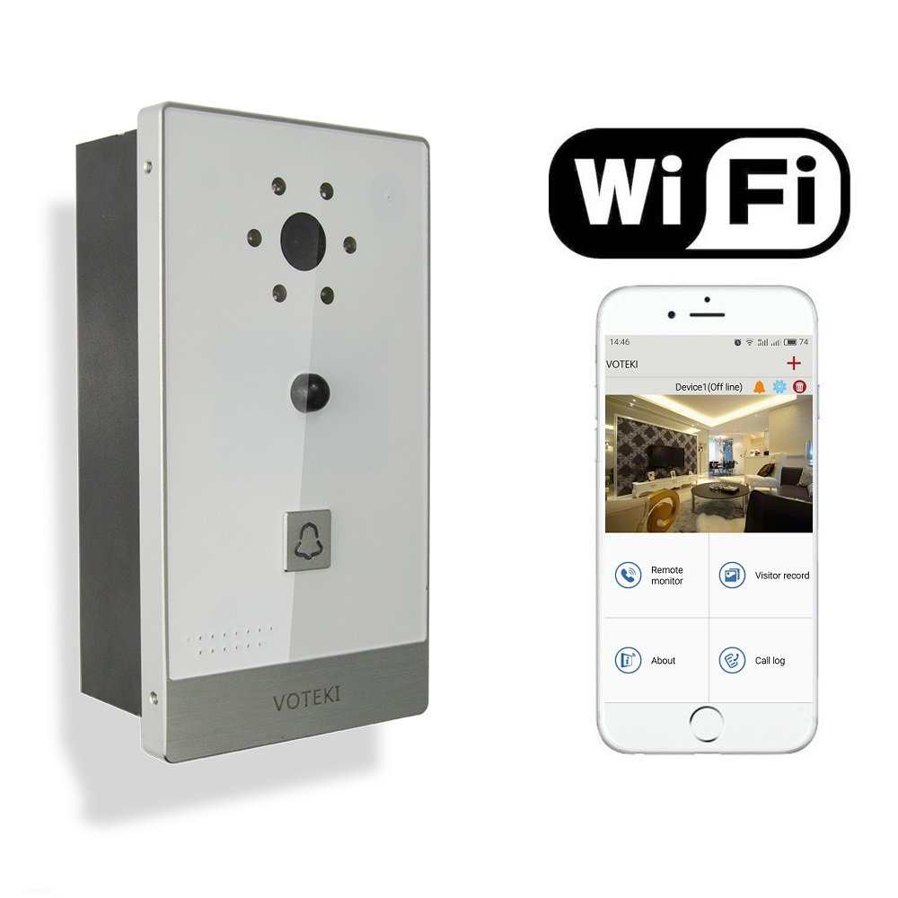 VOTEKI Aluminum Smart WiFi Doorbell Chime Intercom with Motion Detection Sensor and HD Night Vision Camera Support Apple IOS and Android Smart Phone by VOTEKI