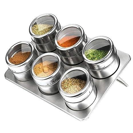 Botes para especias, 6 piezas Pote de condimento magnético de acero inoxidable - Perchero Almacenamiento de condimentos Bandeja de jarras conjunto