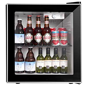 Northair Beverage Cooler and Fridge With Glass Reversible Door, 60 Can Beverage Mini Fridge, Adjustable Shelves Dispenser Countertop Refrigerator Cellars, Perfect for Soda Beer or Small Drink