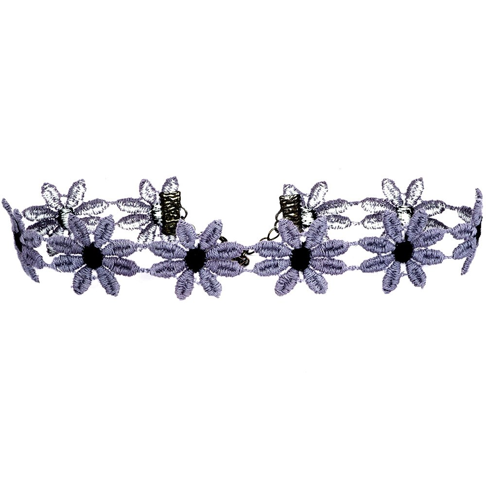 Twilight's Fancy Two-Tone Fun Flower Daisy Lace Choker Necklace (Gray with Black, Large)