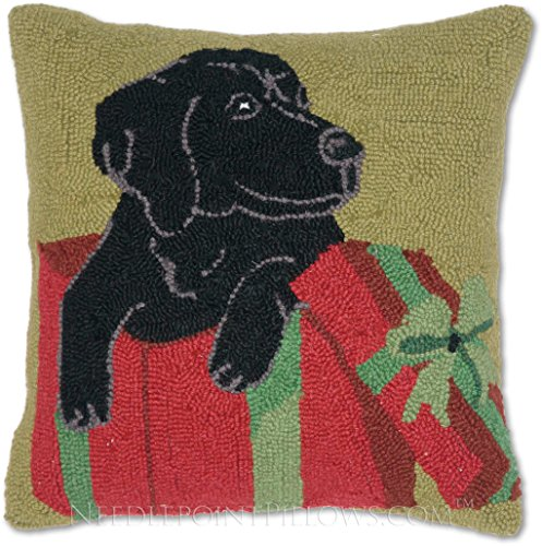 Handmade Black Labrador Puppy Retriever Yellow Lab Merry Christmas Present Dog Gift Hooked Holiday Throw Pillow. 16