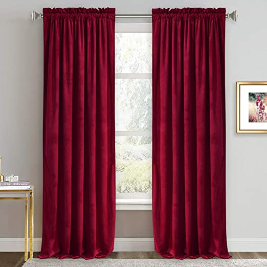 Amazon Com Ryb Home Red Velvet Curtains Room Darkening Curtains For Bedroom Thermal Insulated Window Curtain For Living Room Dinning Room Theater Width 52 X Length 84 Inch Ruby Red 2 Panels