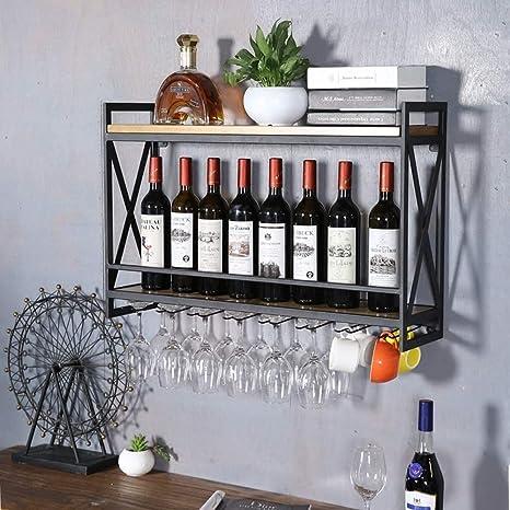 Estante del Vino, Montaje en Pared Arte de Hierro Estante de Pared Porta Botellas de