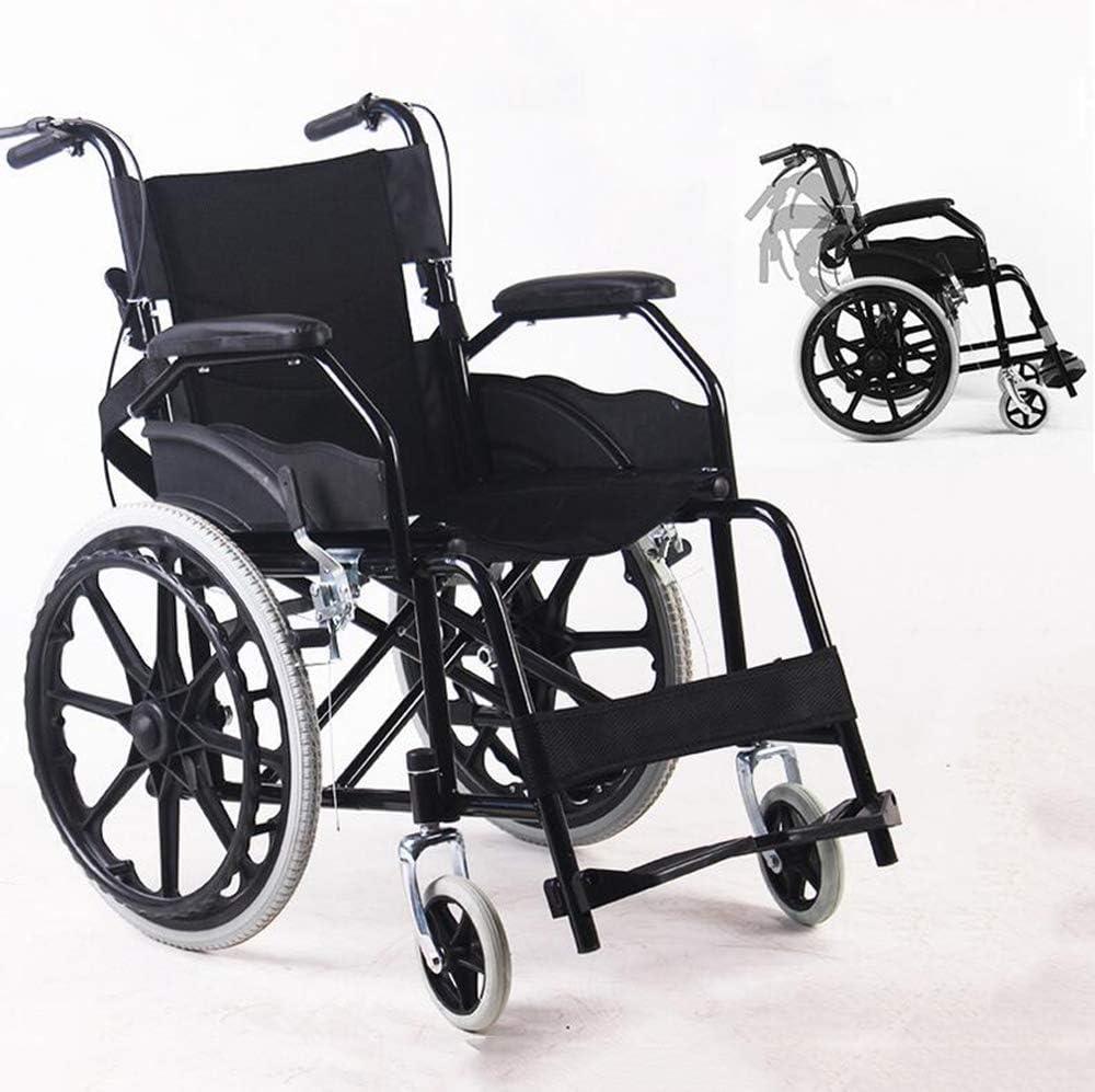 SHOWGG Plegable Silla de Ruedas Silla portátil de Transporte ergonómica Adaptada para minusválidos de Edad Avanzada con Silla de Ruedas Plegable transportable Walker Fácil de Asistencia,Negro