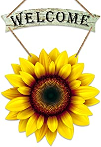 PETCEE Sunflower Welcome Sign for Front Door,11.5