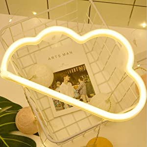 Cloud Neon Light Signs BeMoment Wall Decor Battery and USB Operated Bedside Lamps Home Decoration for Living Room,Children's Bedroom,Party,Christmas & Birthday Gift