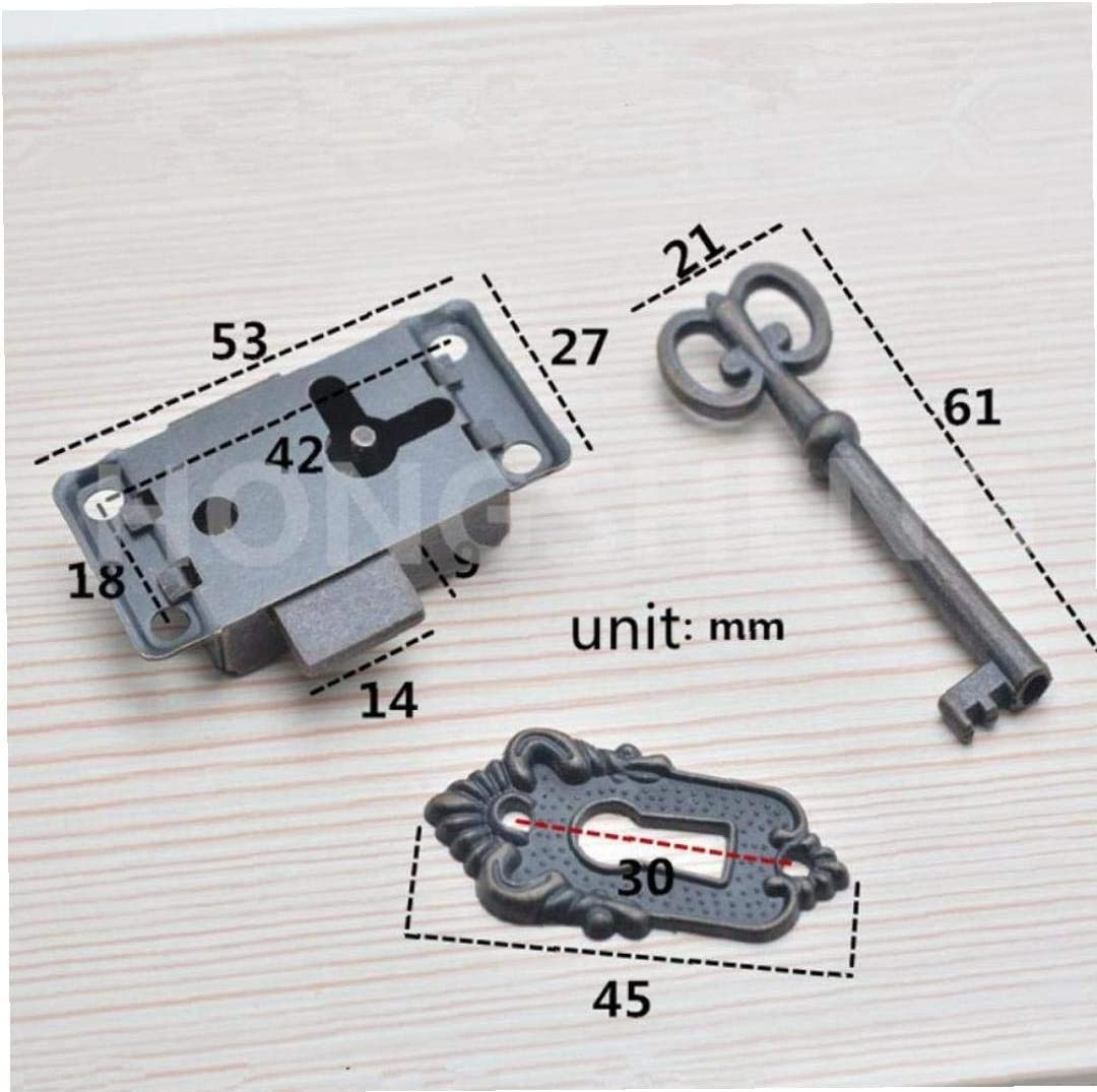1pcs Antique Cabinet Door Lock Set Key Antique Quartet Classique Serrure d/écorative Meubles de Cuisine Bo/îte Serrure de tiroir