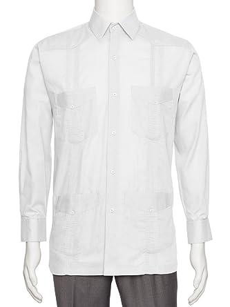 7562d71d397 Gentlemens Collection Mens Linen Look Guayabera Shirt - Long Sleeve Cuban  Shirt White Medium