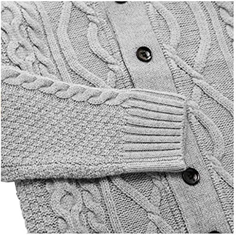 Męskie Wollmischung Cardigan Sweater Button Closure Langarm Schal Kragen Kabel Strick Slim Fit Fashion Coat-XL: Odzież