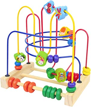 Fajiabao Bead Maze Wooden Toys Roller Coaster Abucas Educational Toy for Toddler Kids Girls Boys 3 Year Old