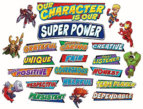 Eureka Back to School Marvel Superhero Adventure 'Our Character' Mini Bulletin Board and Classroom Decorations, 35pc, 6'' W x 21'' L