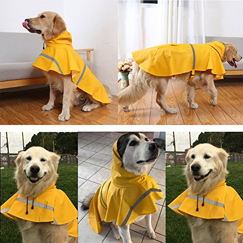 NACOCO Large Dog Raincoat Adjustable Pet Water Proof Clothes Lightweight Rain Jacket Poncho Hoodies with Strip Reflective (XL, Yellow)...