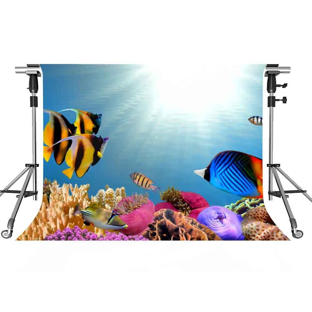 UnderwaterバックドロップColored魚写真背景meetsioy 7 x 5ftテーマパーティー写真ブースYoutube Backdrop pmt356   B07FSBZM59