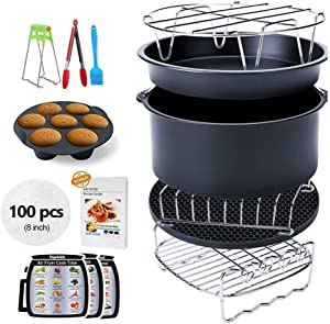 Ptsaying Air Fryer Accessories 15 sets +20 cookbook, air fryer basket baking pan,For Phillips, Gowise Universal XL power Air Fryer Accessory Kit Fit All 4.2-6.8QT, -8 Inch