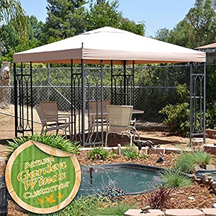 replacement canopy for lowes garden treasures finial classic gazebo riplock 350 - Lowes Garden