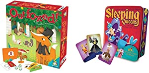 Gamewright Outfoxed! A Cooperative Whodunit Board Game for Kids 5+, Multi-Colored, Standard, Model Number: 418 & ueens 10th Anniversary Tin Card Game