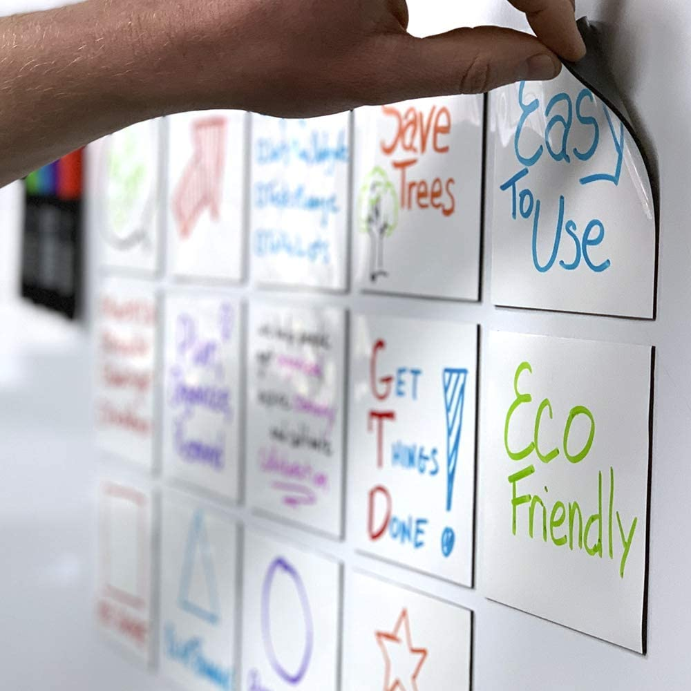 mcSquares Stickies Dry-Erase Sticky Notes. Reusable Whiteboard Stickers 4in x 4in 6 Pack. Never Buy Paper Post Notes Again, Its Eco-Friendly! with Smudge-Free Wet-Erase Marker