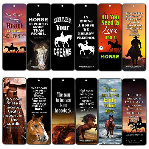 Creanoso Inspirational Horse Quotes Reading Bookmarks Series 2 (12-Pack) - Inspirational Bookmarker Cards Bulk - Themed Party Supplies Decals - Horse Gifts for Men Women Teens