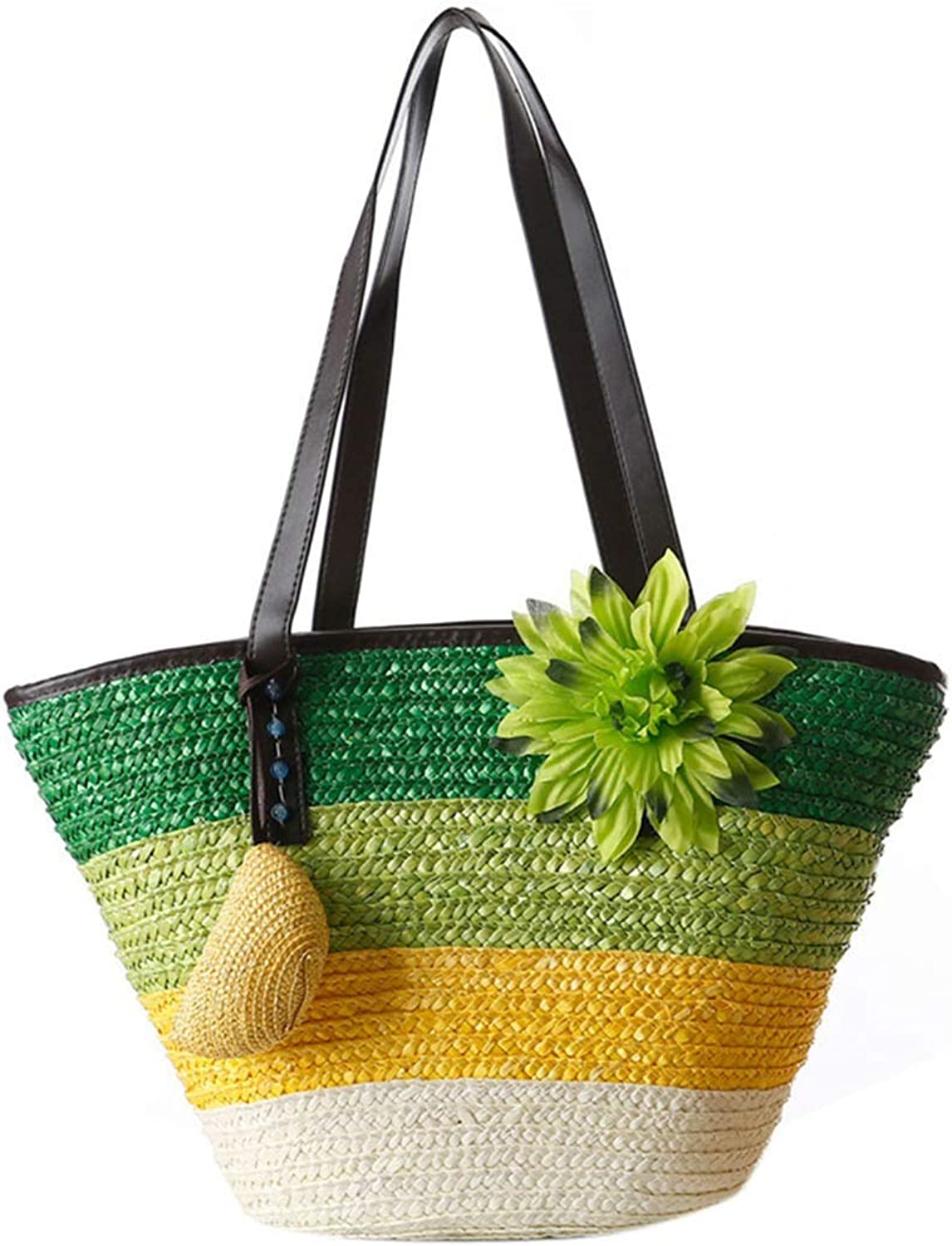 Knitted Straw bag Summer flower Bohemian womens handbags color stripes shoulder bags beach bag big tote