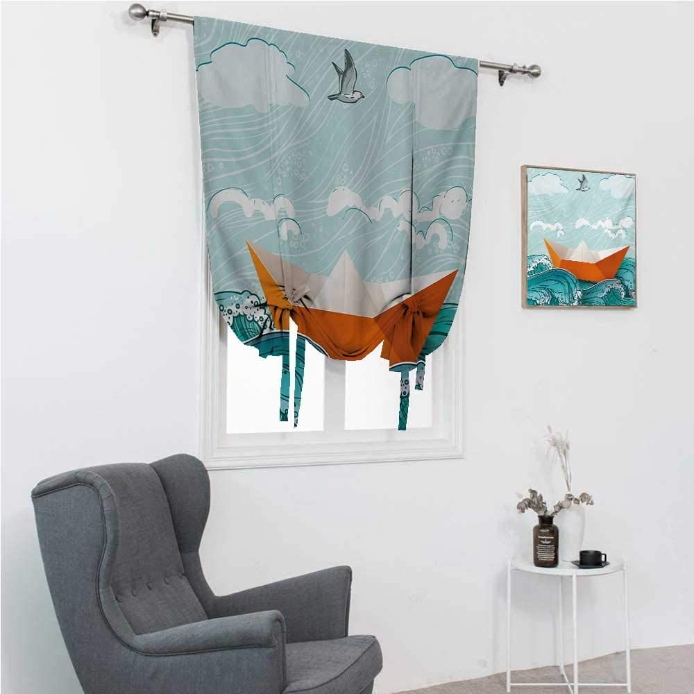 """GugeABC Roman Shades Ocean Bathroom Curtain Tie Up Shade Navy Sealife with Waves and a Paper Sail Ship with Travel Quote Image 30"""" Wide by 64"""" Long Orange Sky Blue and White"""