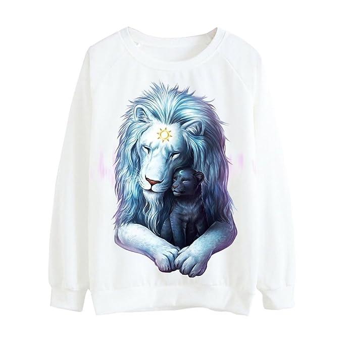 9b99c6f5daab Women Sweatshirt Harajuku Fashion Animal Lion Printed White Pullover  Tracksuit at Amazon Women s Clothing store