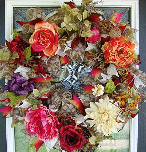 - XL Deluxe Romantic Fall Floral Front Door Deco Mesh Wreath, French Country, Classic Elegant Rustic Decor, Porch Patio Decoration, Autumn Colors, Everyday, Spring, Summer