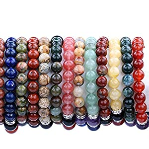 TGS Gems® Beautiful Energy Power Crystal Elastic Stretch Beaded Chakra Gemstone Reiki Healing Bracelet 7 Chakra Mixed Combination