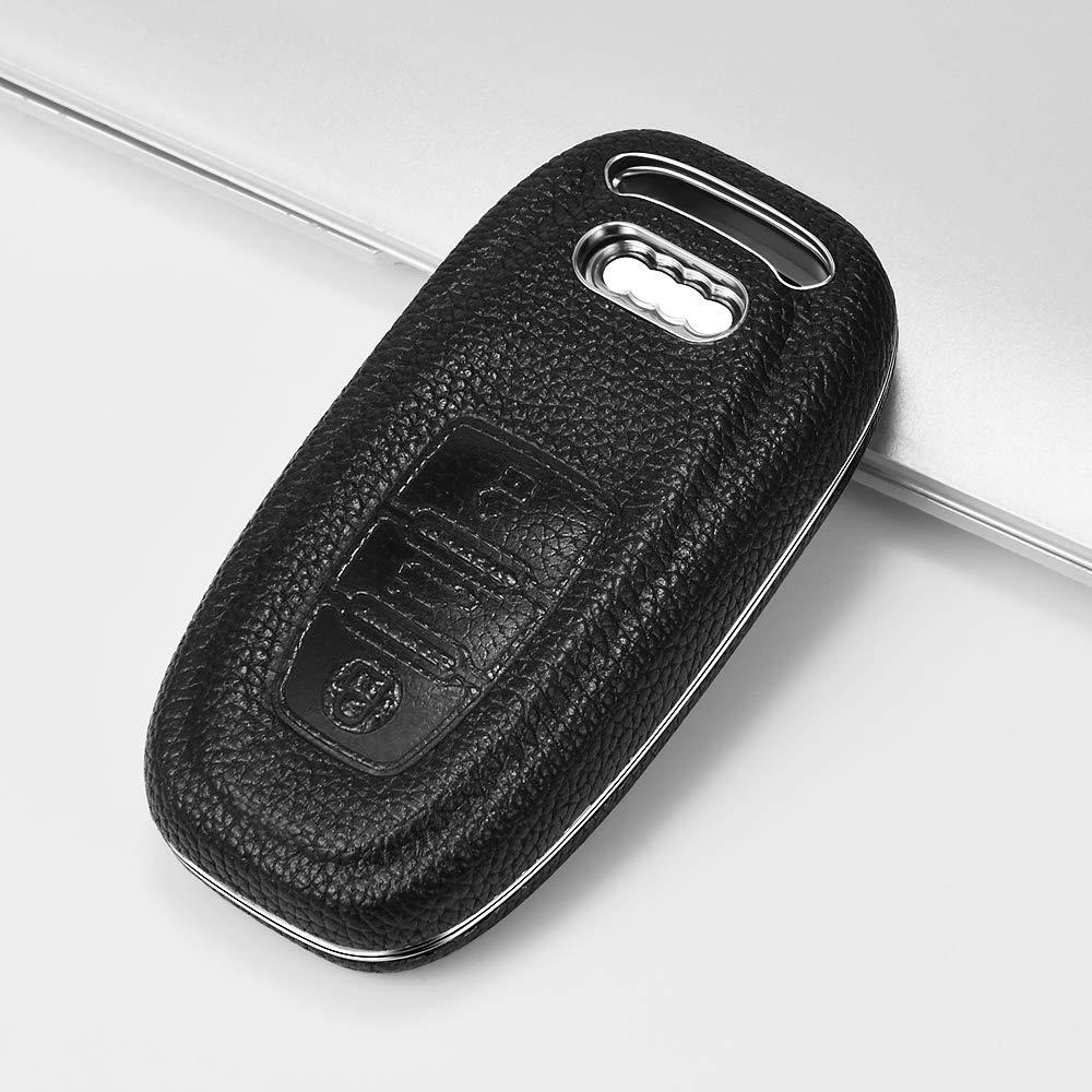 Autoschl/üssel H/ülle Audi,Schl/üsselh/ülle Cover Case f/ür Audi A4 A5 A6 A7 Q5 Q7 Q8 RS SQ Seat 3-Tasten Keyless Schl/üsselbox Verpackung:MEHRWEG Rot