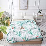 MKXI Thin Comforter Tropical Palm Tree Leaves Print Hawaii Style Summer Bed Quilt Twin Size For Boys Girls Kids Washed Cotton Lightweight Blanket Reversible Solid Green